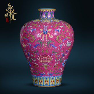 Jingdezhen ceramic antique hand-painted pick flowers wrapped lotus flower plum flower arranging bottles of Chinese style living room porch TV wedding furnishing articles