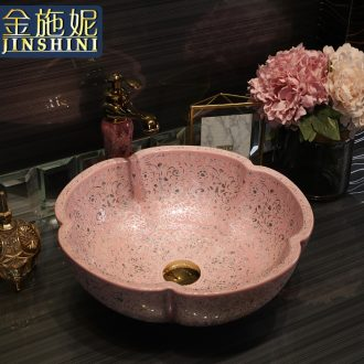 Gold cellnique pink ceramic stage basin sink basin of the contemporary art of the basin that wash a face to wash Su that defend bath lavatory