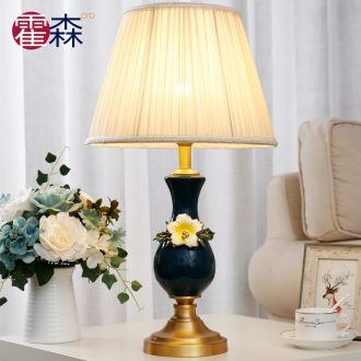 European ceramic colored enamel lamp full copper study fashion contracted sitting room bedroom berth lamp warm idea of romance