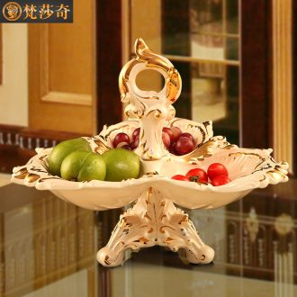 Luxury dry fruit tray, snacks, candy dishes creative household ceramics in the living room european-style compote