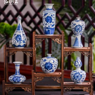 Jingdezhen ceramics antique blue-and-white hand-painted mini flower vase dried flower creative rich ancient frame ornaments furnishing articles