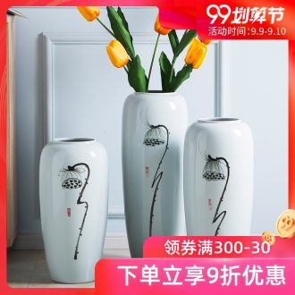 Jingdezhen ceramic white large vases, flower arranging large landing place the sitting room porch vase high simulation flower vase