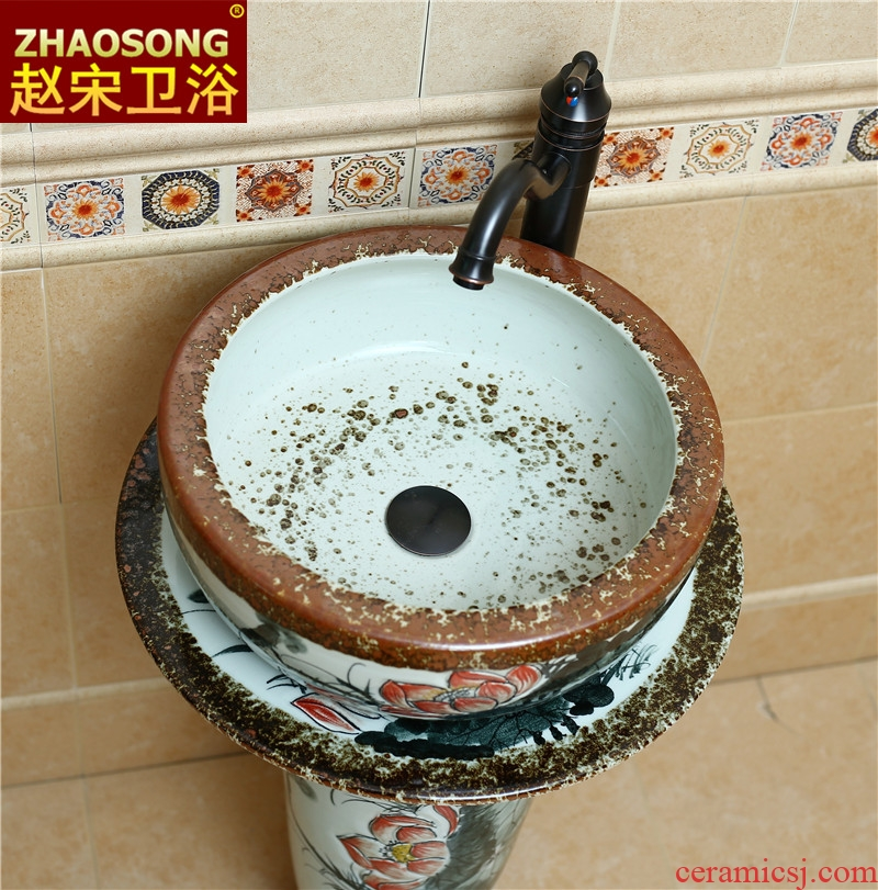 Home pillar of new Chinese style restoring ancient ways of song dynasty ceramics basin bathroom sink sink outdoor balcony on stage