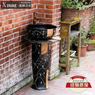 Ceramic column type lavatory toilet bathroom outdoor balcony ground integrated basin sink basin of vertical column