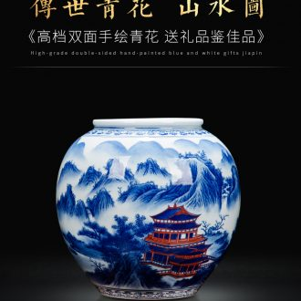 Blue and white porcelain of jingdezhen ceramics hand-painted double cylinder sitting room decoration gift collection exhibition hall study furnishing articles