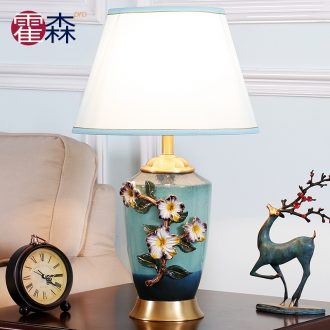 Luxury colored enamel lamp full copper european-style bedroom berth lamp American creative warm sitting room ceramic new Chinese style