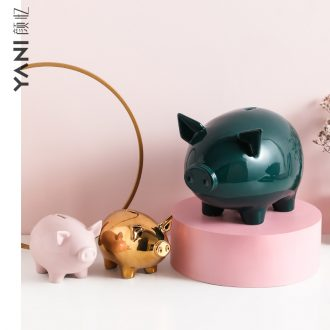 The Nordic ceramic pig piggy bank decoration and furnishing articles not cute lucky children change piggy bank and large capacity