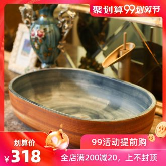 Jingdezhen rain spring on the ceramic basin home wash basin balcony lavatory elliptic toilet lavabo