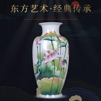 Jingdezhen porcelain of large vases, ceramic furnishing articles hand-painted flower arranging large new Chinese wax gourd bottle decoration decoration