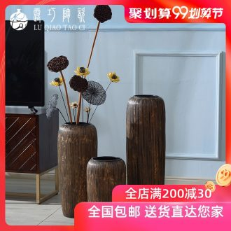 Large ceramic vase restoring ancient ways furnishing articles sitting room ground decoration flowers dried flowers european-style Chinese zen handmade flowers