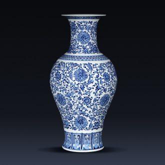 Jingdezhen ceramics imitation qianlong blue and white porcelain vases, flower arrangement furnishing articles new Chinese style porch decoration decoration