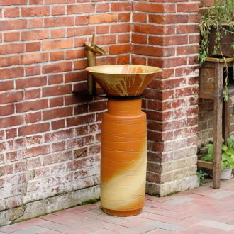 Pillar lavabo toilet stage basin integrated industrial wind landing balcony face ceramic basin outdoor column column