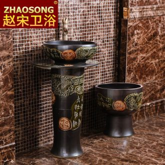 European wind restoring ancient ways in the pillar of ceramic art basin sink bathroom sink on floor balcony outdoor