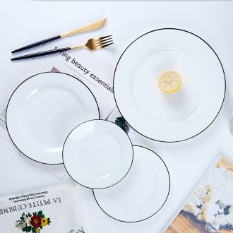 Northern wind jingdezhen ceramics tableware steak dishes dishes household dinner plate bone plate creative bone porcelain dish
