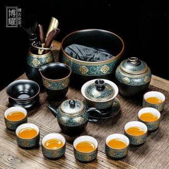 Bo yiu gold kung fu tea set of household ceramic tea lid bowl of tea cups to wash the whole red glaze