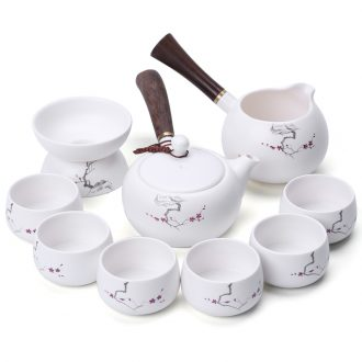 In tang dynasty pottery and porcelain of a complete set of kung fu tea set Japanese side set the pot of tea ware suit the matte white porcelain kiln gift boxes