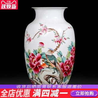 Famous master of jingdezhen ceramics hand-painted pastel peony vases, flower arranging new Chinese style household adornment sitting room