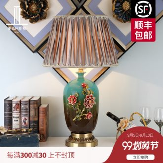 The American luxury full copper lamp sitting room adornment colored enamel porcelain lamps and lanterns of bedroom the head of a bed lamp act the role ofing villa
