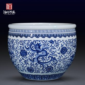 Jingdezhen ceramics antique porcelain painting and calligraphy cylinder storage tank of the study of new Chinese style decoration aquarium vase furnishing articles