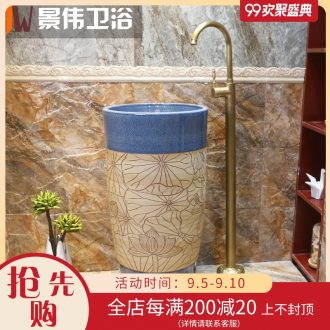 Pillar type lavatory ceramic basin of wash one a whole floor pillar pillar lavabo basin bathroom art