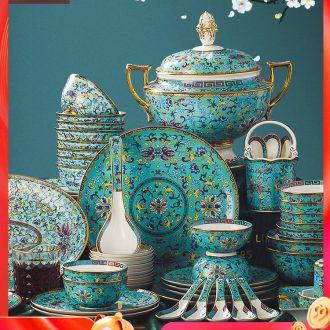 Jingdezhen dishes colored enamel tableware suit household European combined bone bowls dish bowl chopsticks high-grade ceramics disks