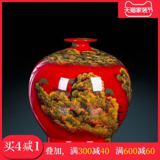 Jingdezhen ceramics hand-painted China red vase flower arranging Chinese style living room office furnishing articles big ornament