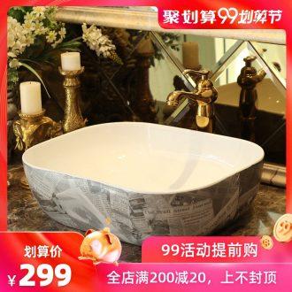 Spring rain on the ceramic basin art lavatory square european-style hotel wash face basin bathroom sink