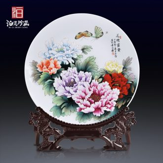 Jingdezhen chinaware decorative hanging dish blooming flowers sitting room new Chinese style home decoration desktop furnishing articles