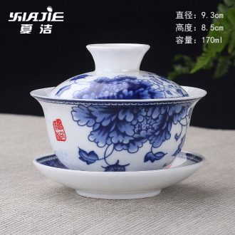 Four-walled yard tureen tea bowl three only large jingdezhen blue and white porcelain tea set ceramic tea cup with cover white porcelain