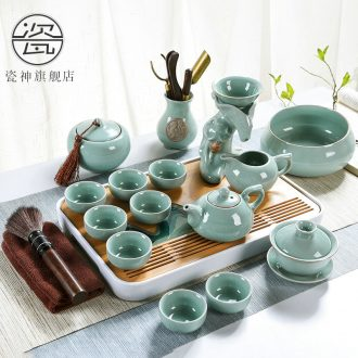 Elder brother kiln porcelain god kung fu tea set suits Chinese style household contracted ice crack open the slice celadon ceramic teapot teacup