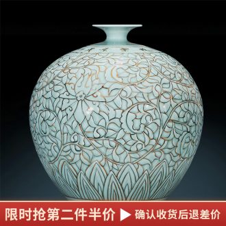 Jingdezhen ceramics vase shadow carving paint pomegranate bottles of Chinese style living room decoration office furnishing articles