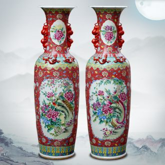 Jingdezhen ceramics hand-painted pastel double lion ear to the ground the sitting room is big vase company opening hotel lobby furnishing articles
