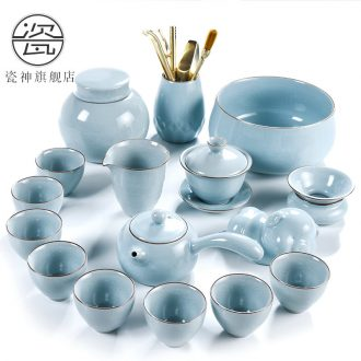 God your kiln porcelain household ceramics kung fu tea set suit Chinese porcelain contracted side teapot tea cups