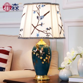 American luxury colored enamel lamp copper lamp of bedroom the head of a bed all European high-grade ceramic creative romantic marriage room of pure copper