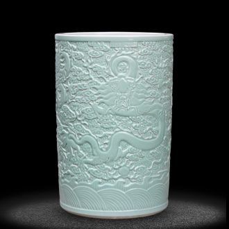Jingdezhen ceramics carved dragon quiver large vases, decorative furnishing articles sitting room floor painting and calligraphy tube scroll calligraphy and painting