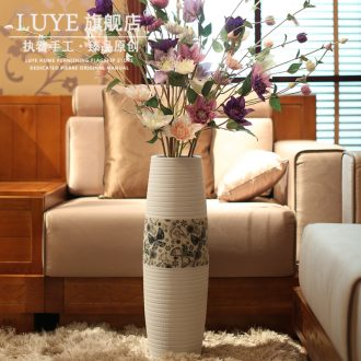 Big sitting room ground ceramic vase American household adornment high dry flower arranging flowers is placed large porcelain restoring ancient ways