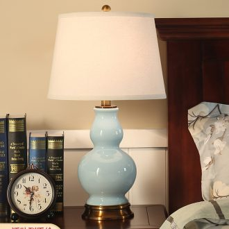 On the berth lamp of desk lamp bedroom American study of contracted sitting room warm creative marriage room full copper ceramic lamp