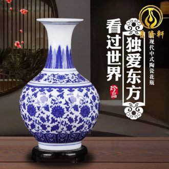 Jingdezhen ceramics vases, antique blue and white porcelain vase furnishing articles furnishing articles sitting room porch decorate household gift