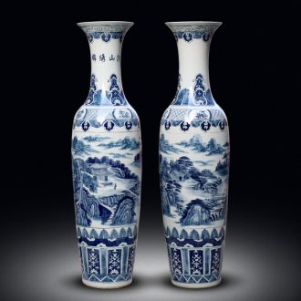 Jingdezhen ceramic vase of large sitting room adornment hand-painted blue and white porcelain hotel opening gifts corridor furnishing articles