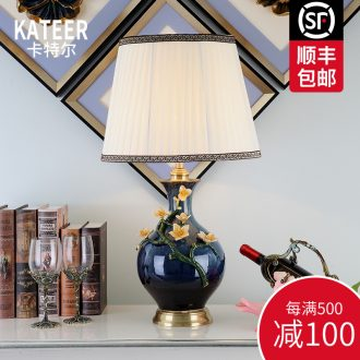 Cartel American luxury colored enamel lamp full copper lamp of bedroom the head of a bed European ceramic creative villa lighting