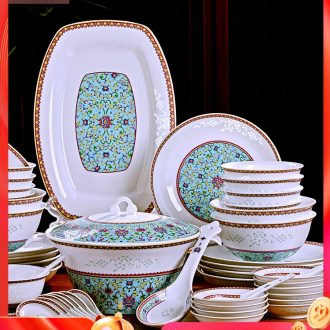 Fire color jingdezhen porcelain tableware dishes household portfolio bone European ceramic bowl chopsticks Chinese dishes suit a gift