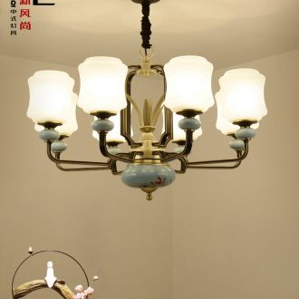 New Chinese style with contemporary and contracted sitting room lamp droplight archaize creative atmosphere of household ceramics hall China wind restoring ancient ways