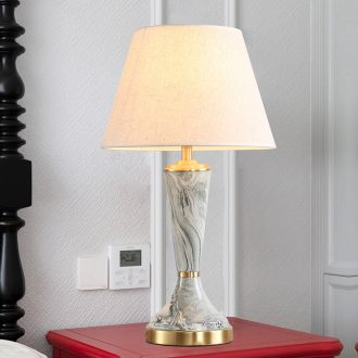 Creative American full copper ceramic desk lamp LED the study of bedroom the head of a bed is contracted, warm personality between example chandeliers