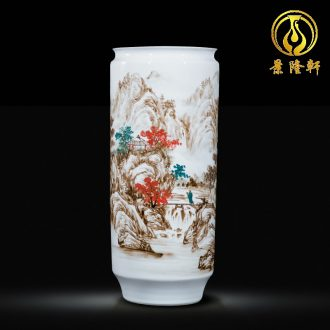 Jingdezhen ceramic celebrity master hand-painted jiangshan jiao large vases, new Chinese style household decorations furnishing articles