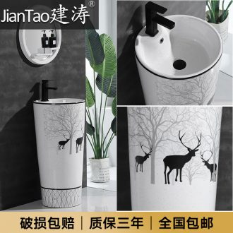 One-piece pillar basin contracted Nordic breeze black deer toilet ceramic basin floor balcony column set of columns