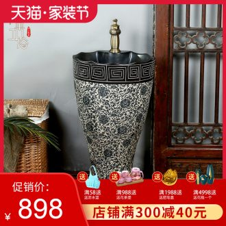 M beautiful ceramic basin of pillar type lavatory floor integrated small wash gargle balcony column lavabo household