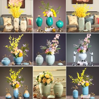 New Chinese vase furnishing articles sitting room flower arranging flowers European modern example room table soft ceramic handicraft ornament