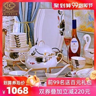 Fire color bone porcelain tableware dishes suit household Korean combination 70 Chinese jingdezhen ceramic bowl chopsticks phnom penh