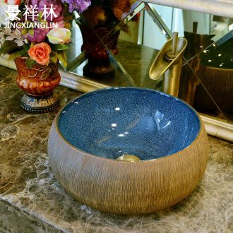 Jingdezhen art basin stage basin ceramic lavabo toilet drum-shaped sink carved lavatory