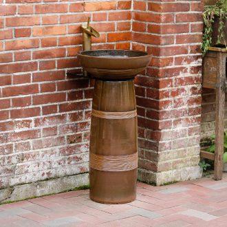 Pillar lavabo simple ceramic bathroom toilet balcony column basin art face basin to outdoor column on stage